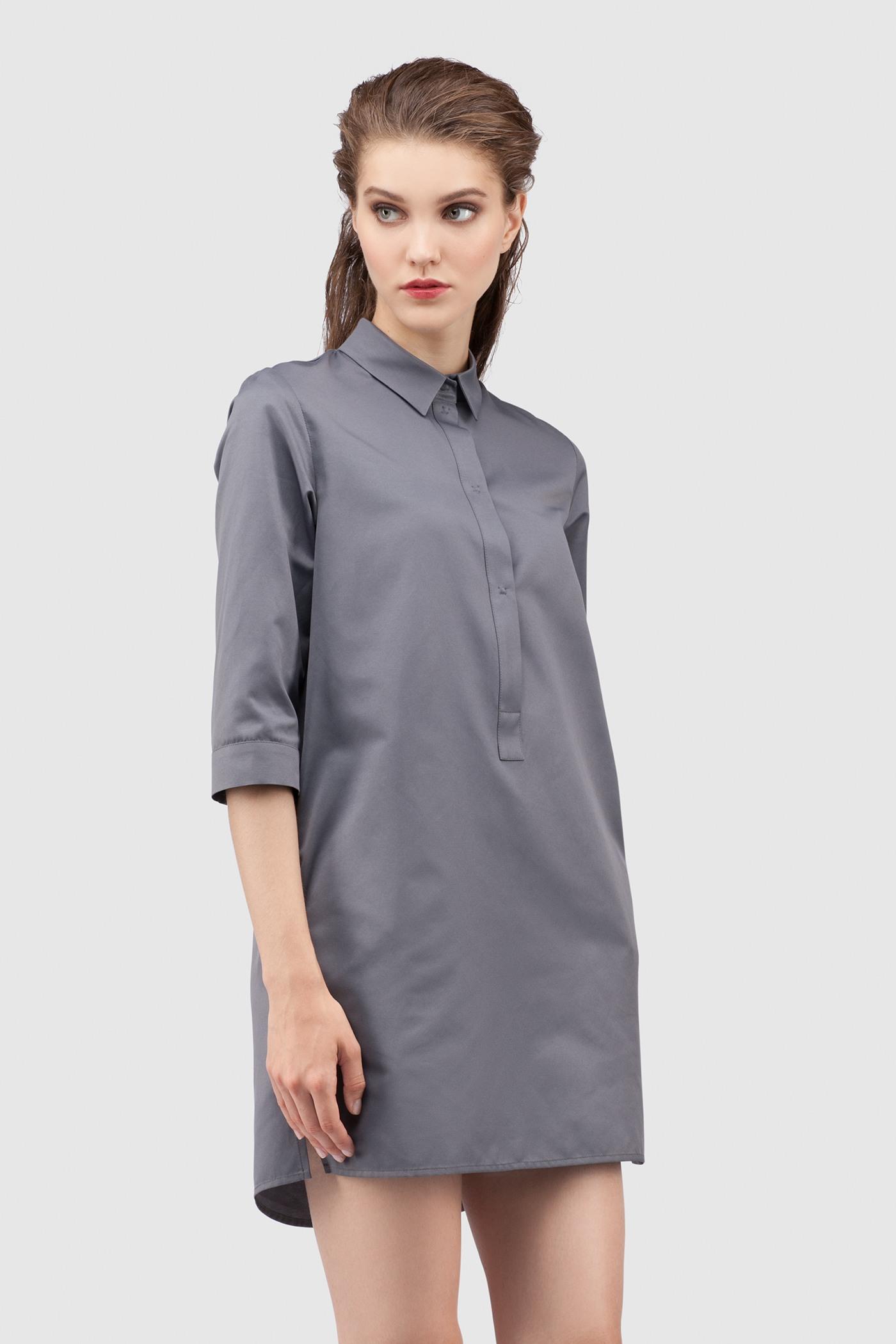 РубашкаУдлиненная рубашка из хлопка&#13;<br>&#13;<br>&#13;<br>застегивается на пуговицы&#13;<br>&#13;<br>рукава 3/4&#13;<br>&#13;<br>прямой силуэт&#13;<br>&#13;<br>длина рубашки по спинке — 80 см<br><br>Цвет: Серый<br>Размер: XXS, XS, S, M, L