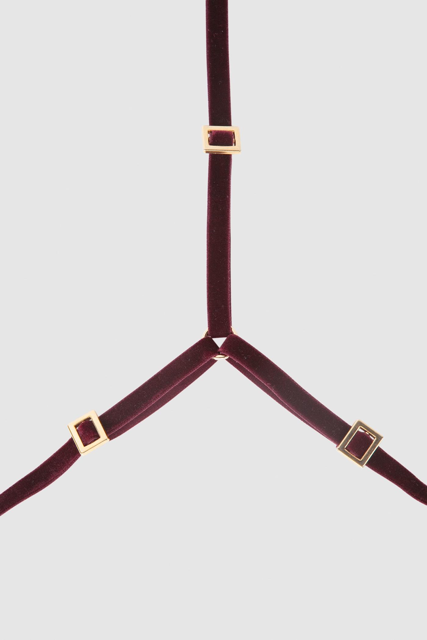 Текстильная сбруяСбруя из эластичной бархатной резинки&#13;<br>&#13;<br>&#13;<br>полностью регулируется по объему и высоте металлическими зажимами&#13;<br>&#13;<br>цвет фурнитуры - золото&#13;<br>&#13;<br>эксклюзивная, фирменная, металлическая упаковка<br><br>Цвет: Бордовый, Синий-индиго