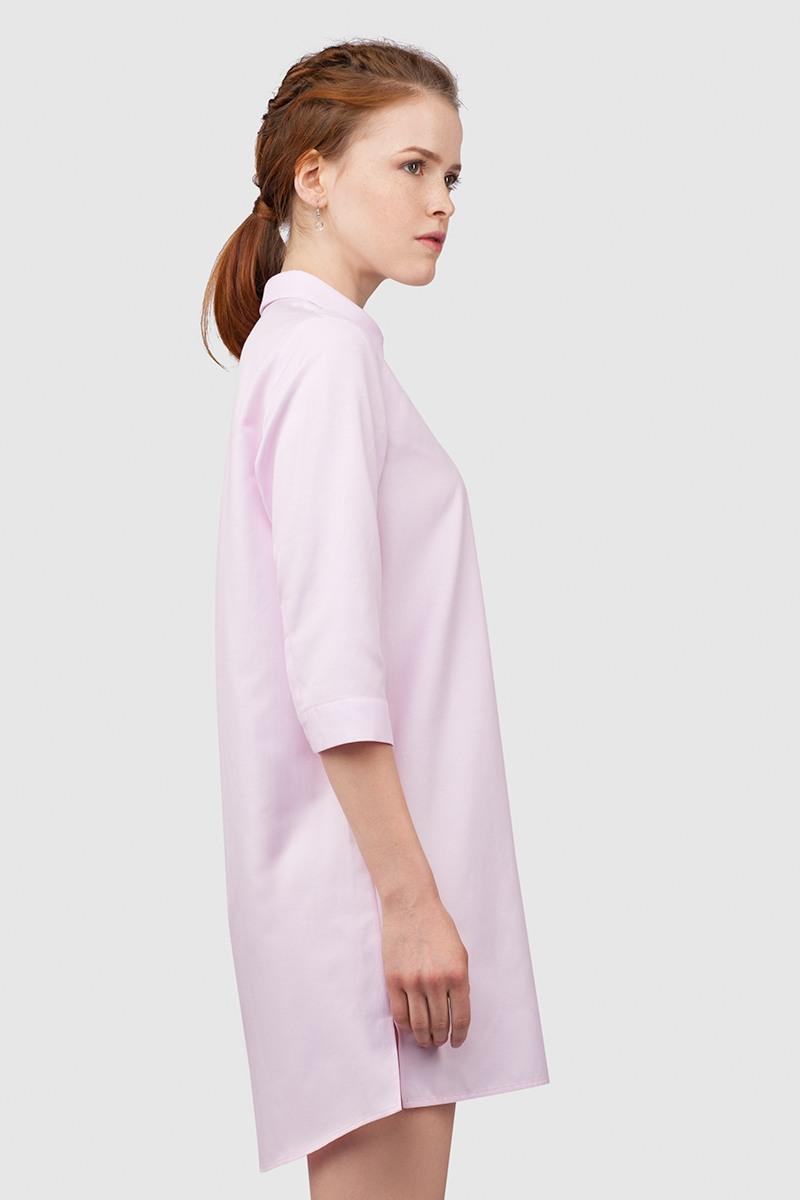 РубашкаУдлиненная рубашка из хлопка&#13;<br>&#13;<br>&#13;<br>застегивается на пуговицы&#13;<br>&#13;<br>рукава 3/4&#13;<br>&#13;<br>прямой силуэт&#13;<br>&#13;<br>длина рубашки по спинке — 80 см<br><br>Цвет: Бледно-розовый<br>Размер: XXS, XS, S, M, L