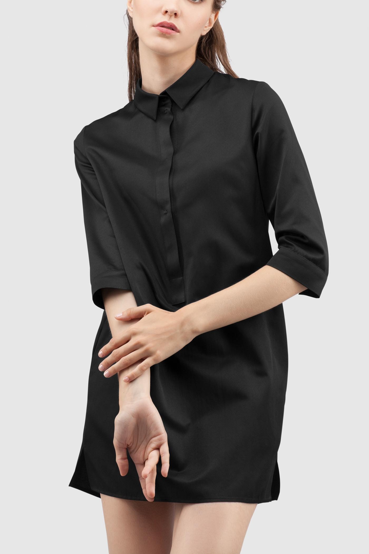 РубашкаУдлиненная рубашка из хлопка&#13;<br>&#13;<br>&#13;<br>застегивается на пуговицы&#13;<br>&#13;<br>рукава 3/4&#13;<br>&#13;<br>прямой силуэт&#13;<br>&#13;<br>длина рубашки по спинке — 80 см<br><br>Цвет: Черный, Белый, Красный, Бледно-розовый<br>Размер: XS, S, M, L
