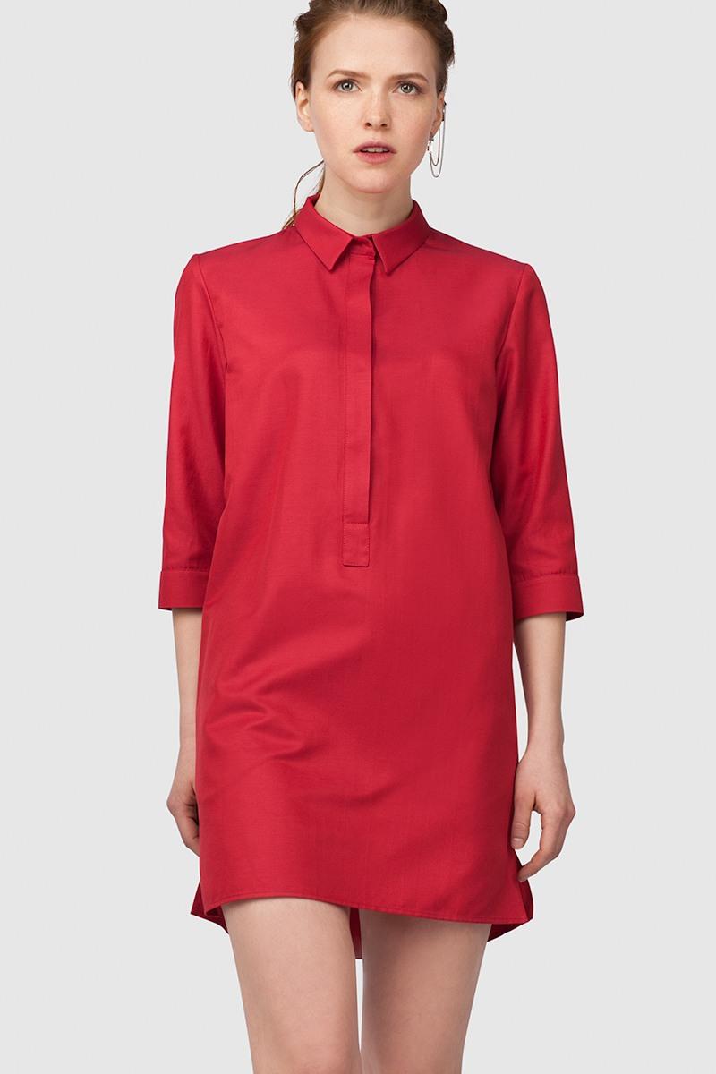 Платье-рубашкаПлатье-рубашка прямого силуэта&#13;<br>&#13;<br>&#13;<br>застёгивается на пришивные кнопки&#13;<br>&#13;<br>рукава 3/4&#13;<br>&#13;<br>длина платья по спинке при росте 158-164 — 84 см&#13;<br>&#13;<br>в комплекте тканный пояс, платье можно носить как с ним, так и без него<br><br>Цвет: Красный<br>Размер: XXS, XS, S, L, M