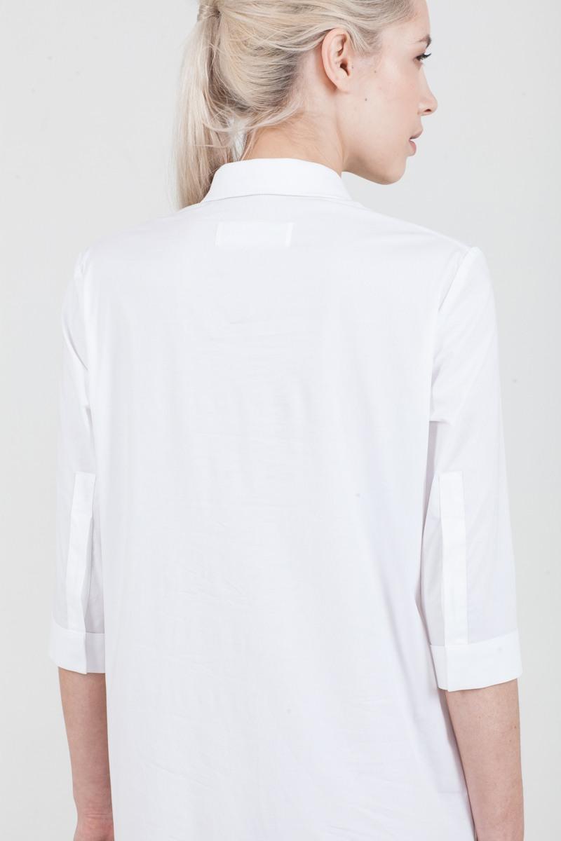 РубашкаУдлиненная рубашка из хлопка&#13;<br>&#13;<br>&#13;<br>застегивается на пуговицы&#13;<br>&#13;<br>рукава 3/4&#13;<br>&#13;<br>прямой силуэт&#13;<br>&#13;<br>длина рубашки по спинке — 80 см<br><br>Цвет: Белый<br>Размер: XXS, S, M, XS