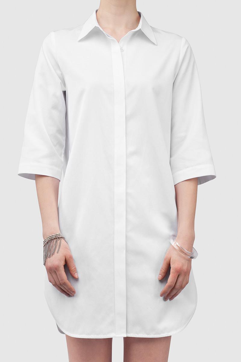 РубашкаУдлиненная рубашка из тонкого хлопка&#13;<br>&#13;<br>&#13;<br>застегивается на пуговицы&#13;<br>&#13;<br>рукава 3/4&#13;<br>&#13;<br>длина рубашки при росте 158-164 см — 87 см, при росте 170-176 см — 87 см&#13;<br>&#13;<br>рубашка без карманов<br><br>Цвет: Белый<br>Размер: S<br>Ростовка: 164 -170